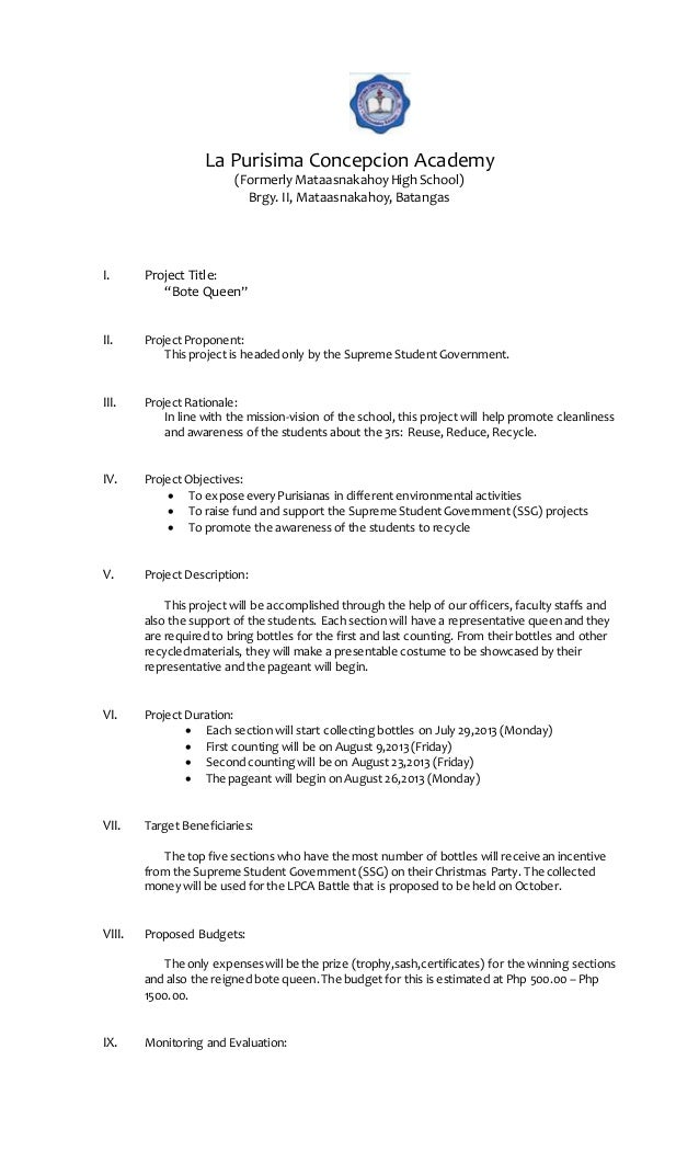 School activity and project proposals maryjoy nazaro