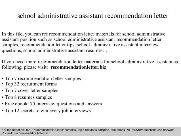 School Administrative Assistant Recommendation Letter In This File, You Can  Ref Recommendation Letter Materials For ...  Administrative Cover Letters