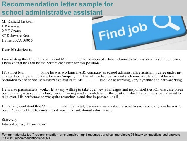 Delightful Recommendation Letter Sample For School Administrative Assistant ...