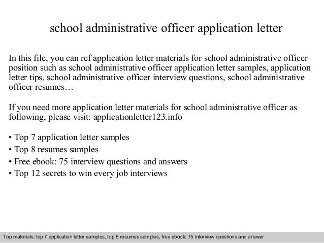 School Administrative Officer Application Letter In This File, You Can Ref Application  Letter Materials For ...  Admin Cover Letter