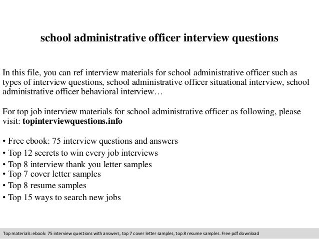 school administrative officer interview questions