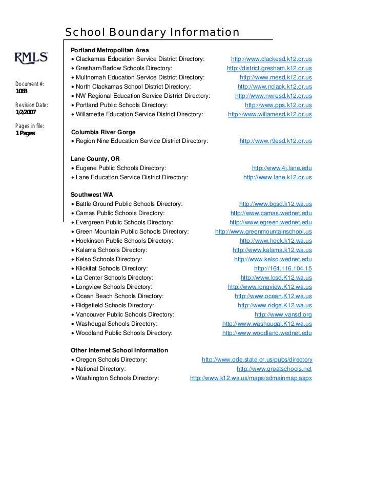 School Boundary Information                  Portland Metropolitan Area                  • Clackamas Education Service Dis...