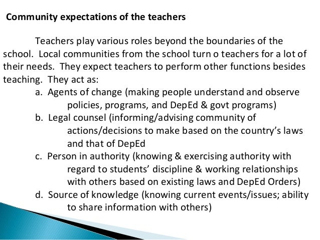 Community expectations of the teachers  Teachers play various roles beyond the boundaries of the  school. Local communitie...