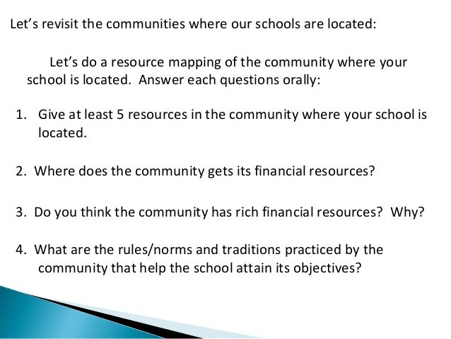 Let's revisit the communities where our schools are located:  Let's do a resource mapping of the community where your  sch...