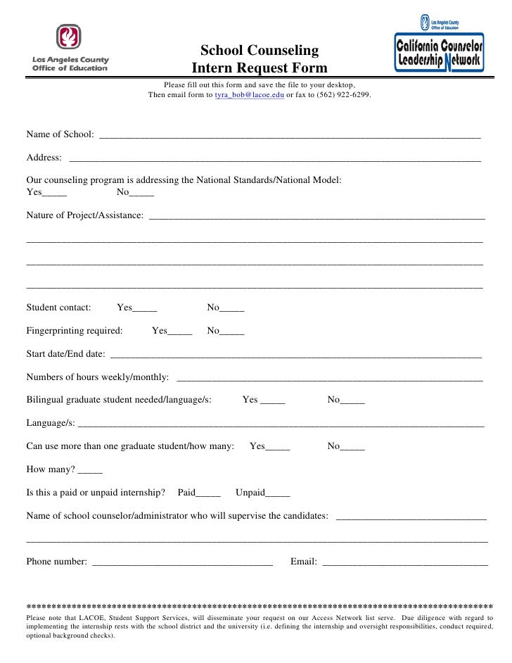School counseling intern request form 10-29-09