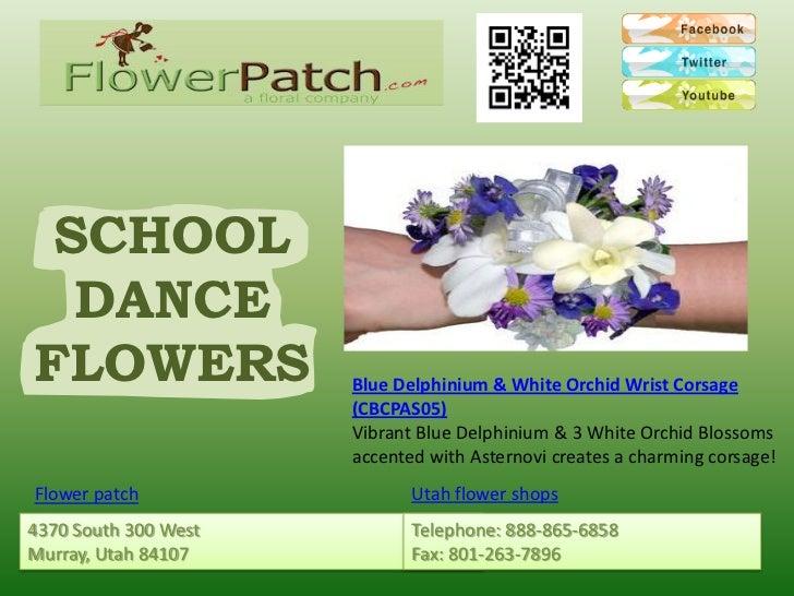 SCHOOL  DANCEFLOWERS               Blue Delphinium & White Orchid Wrist Corsage                      (CBCPAS05)           ...