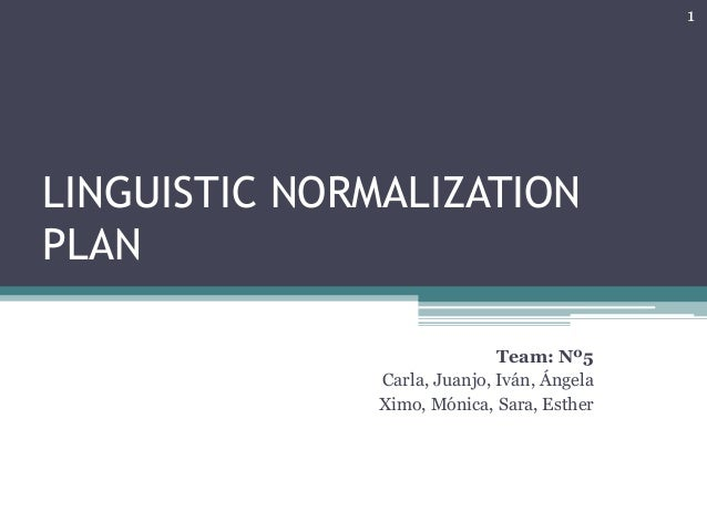 LINGUISTIC NORMALIZATION  PLAN  Team: Nº5  Carla, Juanjo, Iván, Ángela  Ximo, Mónica, Sara, Esther  1
