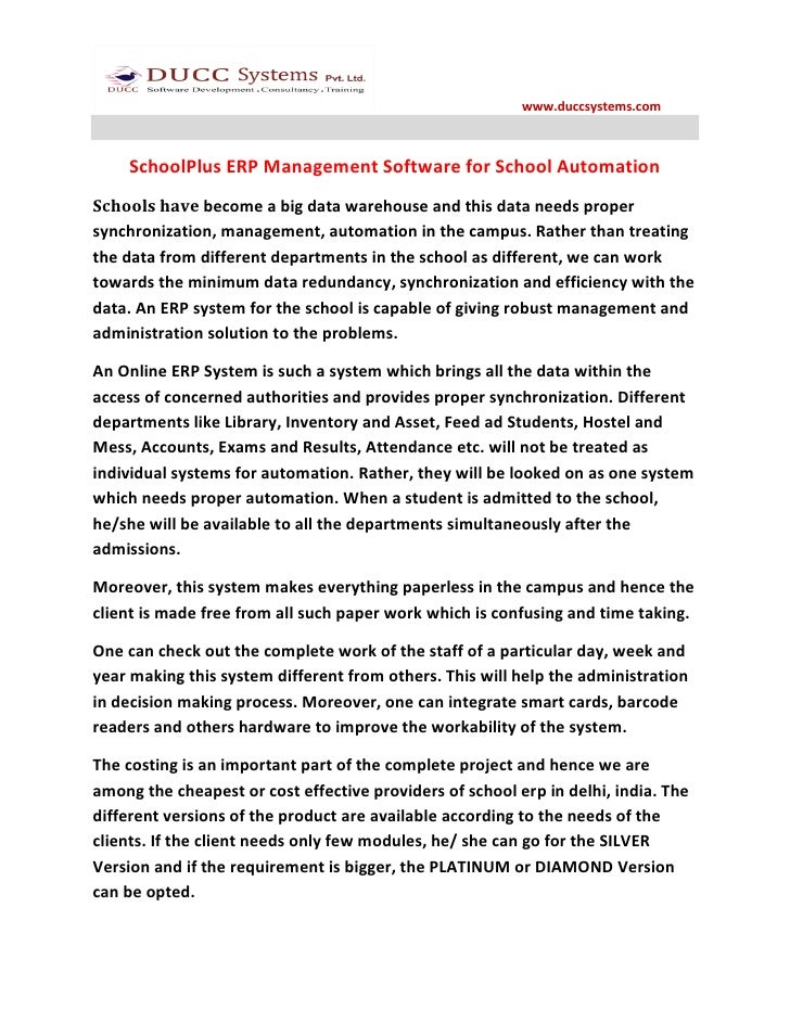 www.duccsystems.com    SchoolPlus ERP Management Software for School AutomationSchools have become a big data warehouse an...