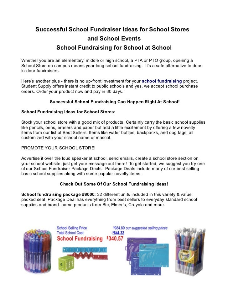 Successful School Fundraiser Ideas for School Stores                                 and School Events                 Sch...