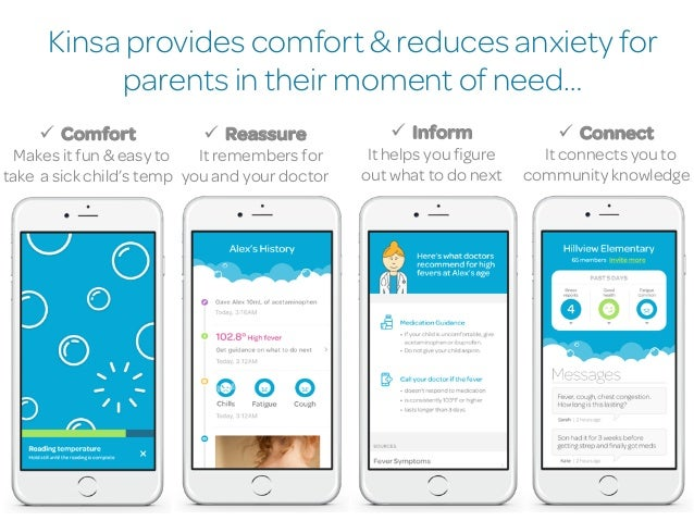 Kinsa provides comfort & reduces anxiety for parents in their moment of need… 6 ü Comfort Makes it fun & easy to take a ...