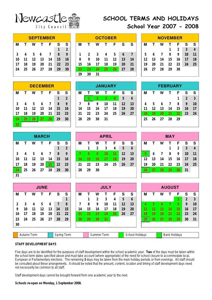 Calendar Year Quota Share : School holiday calendar final