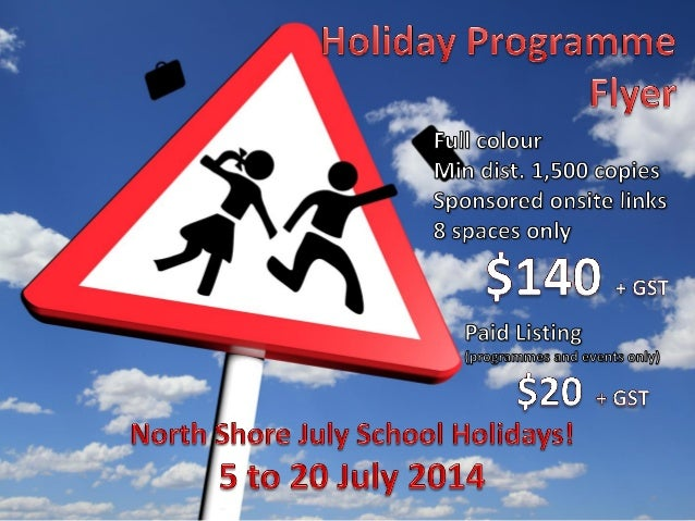Copyright Linku2 North Shore Limited Rotating logo advert in one of the two right hand column slots on all school holiday ...