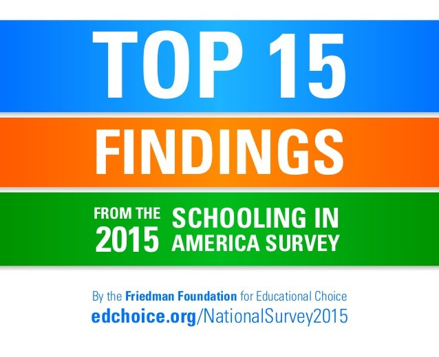 TOP 15 FINDINGS By the Friedman Foundation for Educational Choice edchoice.org/NationalSurvey2015 SCHOOLING IN AMERICA SUR...