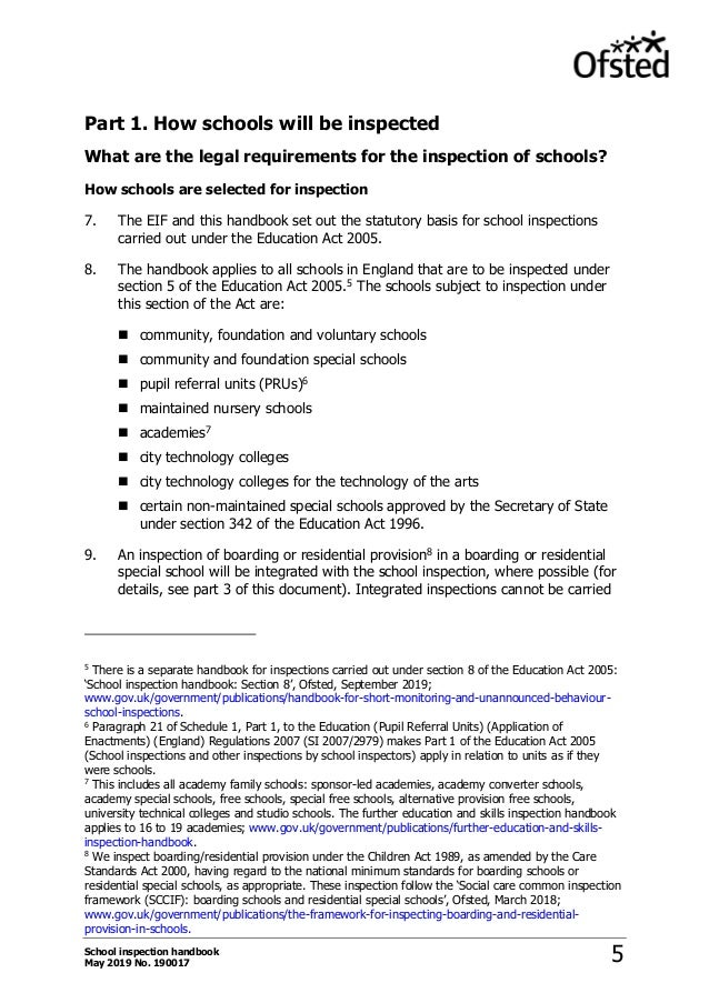 Ofsted School Inspection Handbook (from Sept 2019)