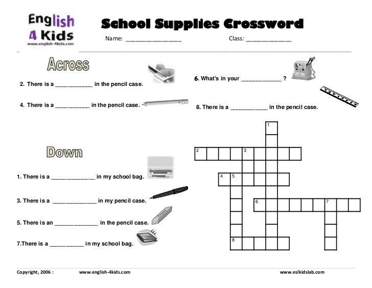 School Items Crossword