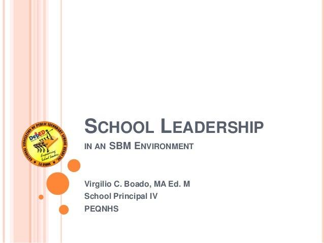 SCHOOL LEADERSHIPIN AN SBM ENVIRONMENTVirgilio C. Boado, MA Ed. MSchool Principal IVPEQNHS