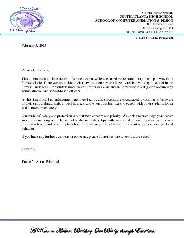 School Letterhead Official Notification Student Safety
