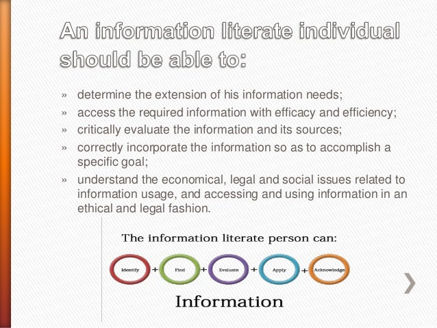 """scholarly information literacy essay Definition information literacy is a set of abilities allowing individuals to """"recognize when information is needed and how to locate, evaluate, and use."""