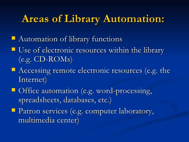 School library automation Slide 2