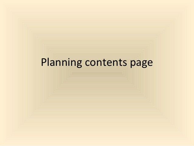 Planning contents page