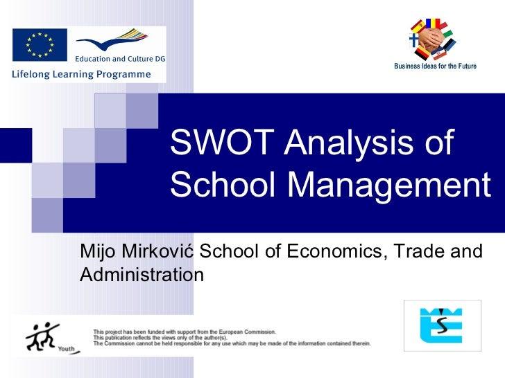 SWOT  A nalysis of  S chool  M anagement Mijo Mirković  S chool of  E conomics,  T rade and  A dministration
