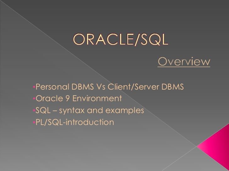 Oracle case study in dbms