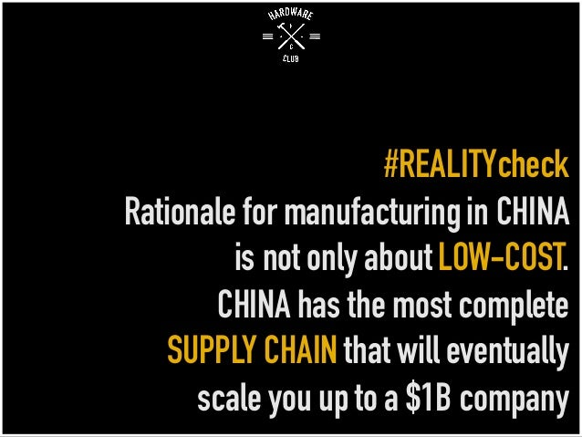 #REALITYcheck Rationale for manufacturingin CHINA is not only aboutLOW-COST. CHINA has the most complete SUPPLY CHAIN that...