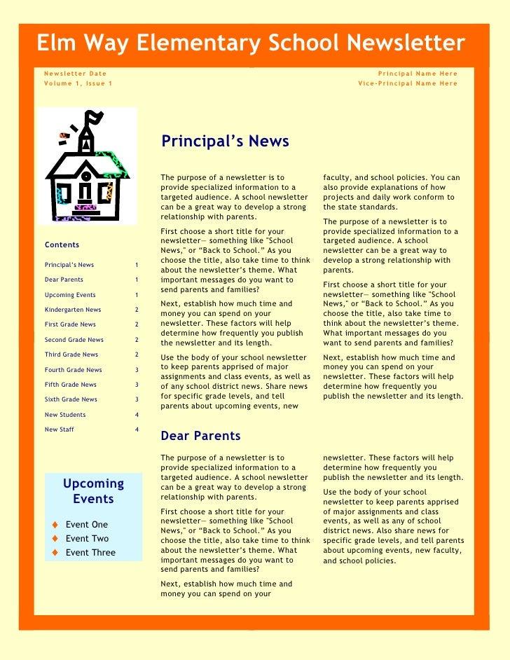 newsletter for school