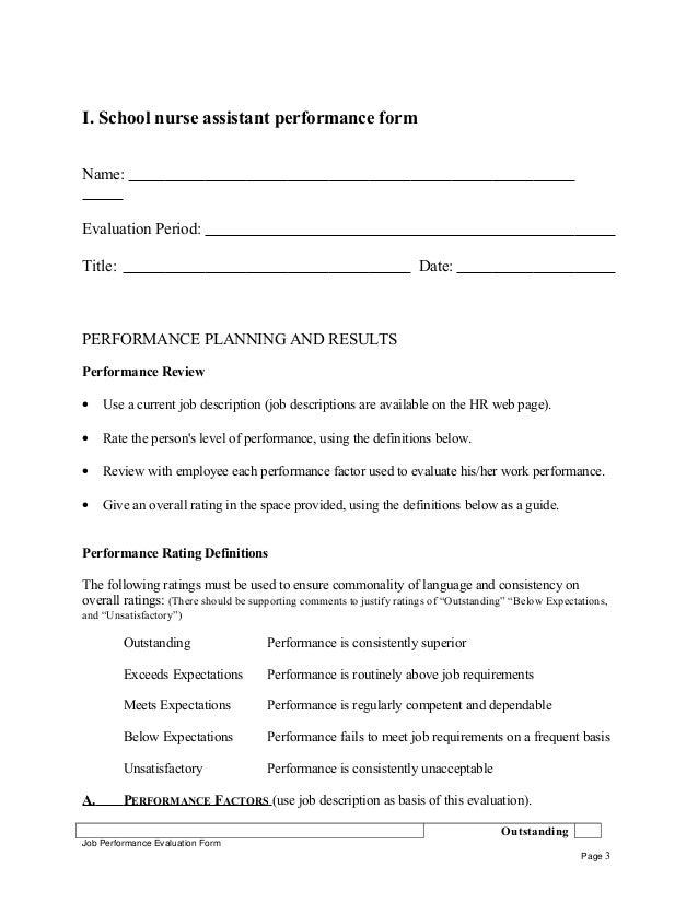 School nurse assistant performance appraisal