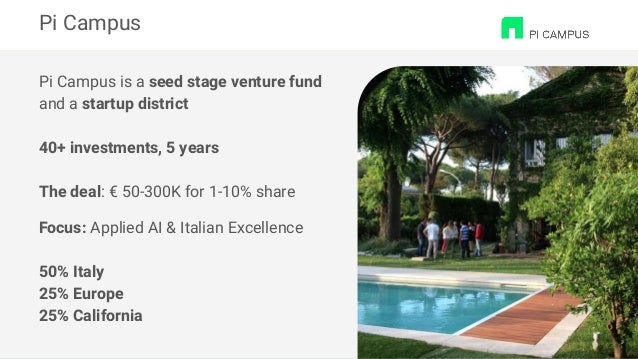 Pi Campus is a seed stage venture fund and a startup district 40+ investments, 5 years The deal: € 50-300K for 1-10% share...