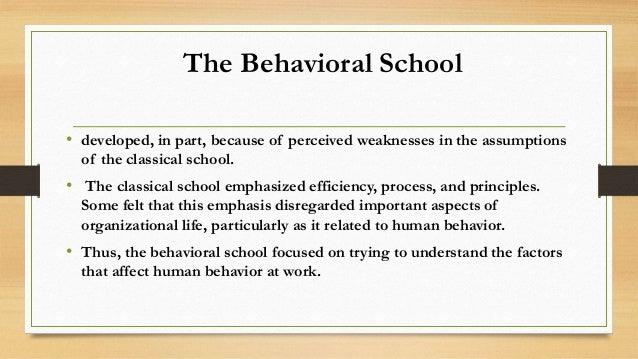 contribution of behaviuoral school of thought In the 20th century, many of the images that came to mind when thinking about   among his contributions were a systematic exploration of intermittent  through  successive approximations, the chaining of complex behavioral sequences via.