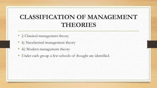management thought the classical school