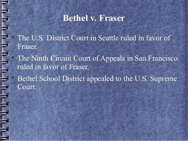 bethel v fraser 2 matthew fraser, a high school student in bethel, washington, delivered a speech nominating a fellow student for a student elective office the speech was .