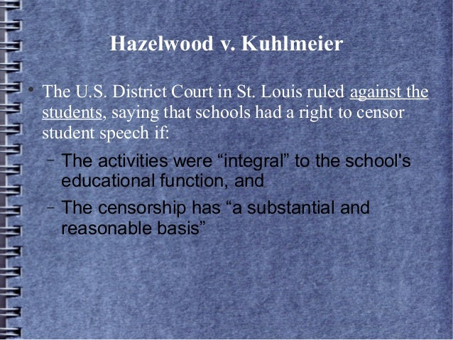 the 1st amendment in schools Free speech lawsuits involving public schools the next big school first amendment case decided by the court served to emphasize that point.