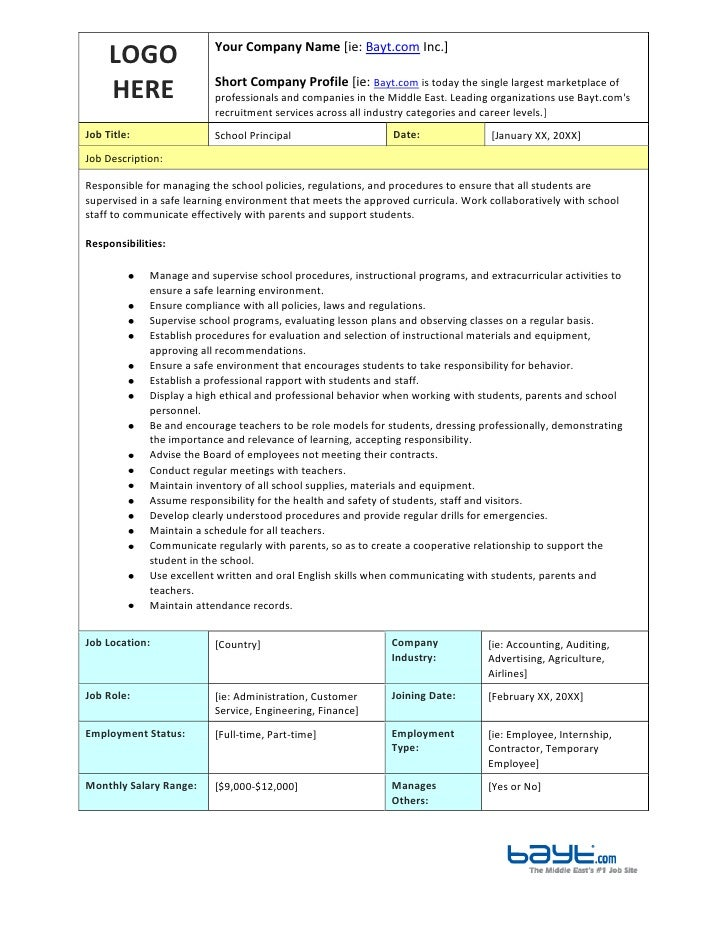 School Principals Job Description Template By Bayt.Com