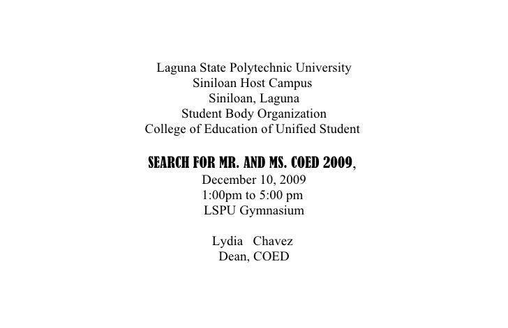 Laguna State Polytechnic University         Siniloan Host Campus             Siniloan, Laguna       Student Body Organizat...