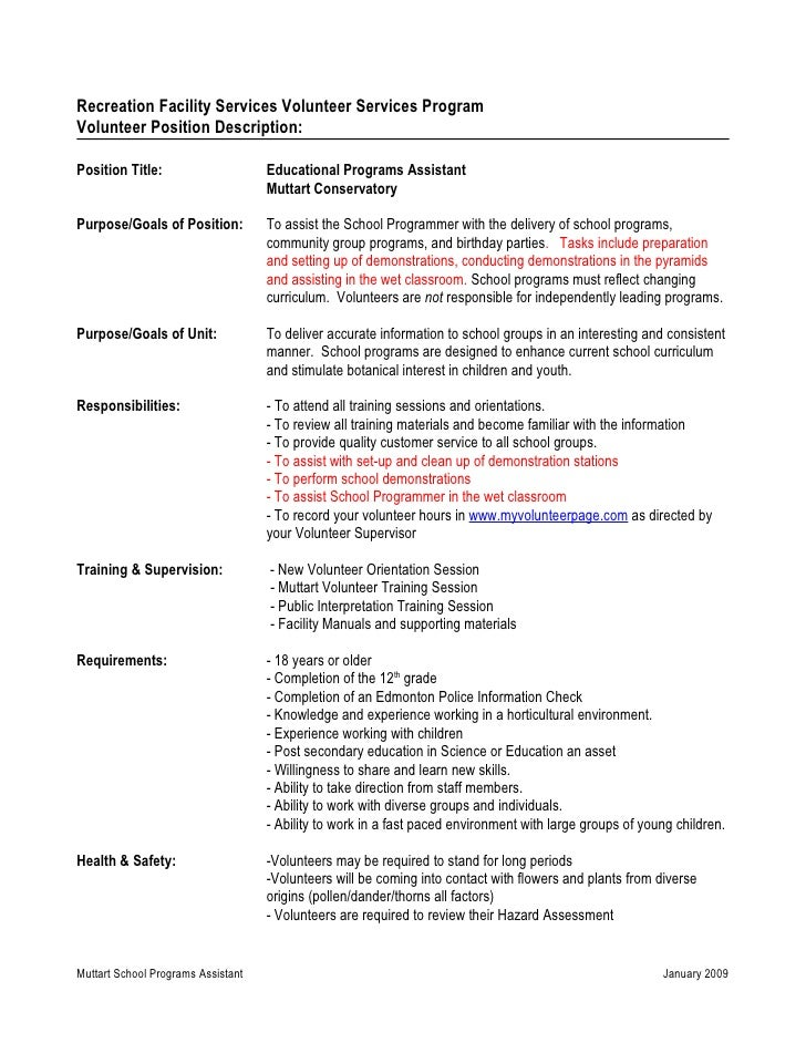 Recreation Facility Services Volunteer Services Program Volunteer Position Description:  Position Title:                  ...
