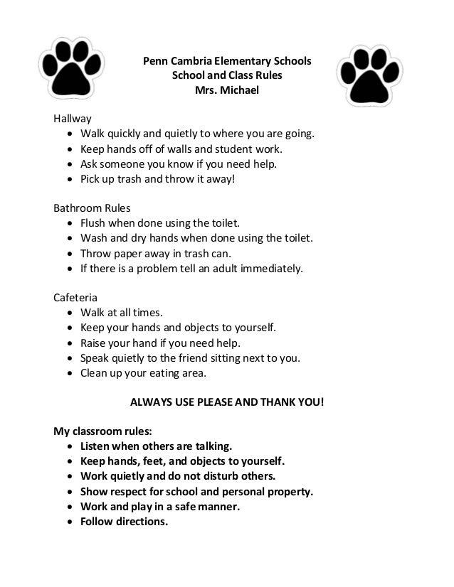 School Bathroom Rules school rules