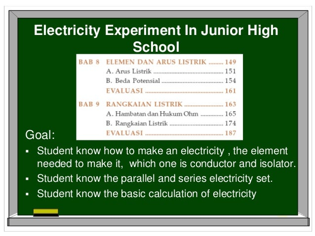School Science Experiment Electricity For Junior High School