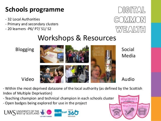 Schools programme - 32 Local Authorities - Primary and secondary clusters - 20 learners -P6/ P7/ S1/ S2  Workshops & Resou...