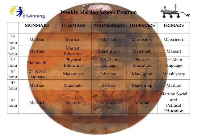 Weekly Martian School Program MONMARS TUESMARS WEDNESMARS THURMARS FRIMARS 1st hour Martian Martian Martian Marhistory Mar...