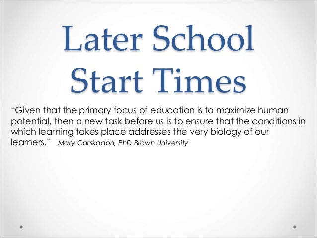 Adolescent Health and Later School Start Times