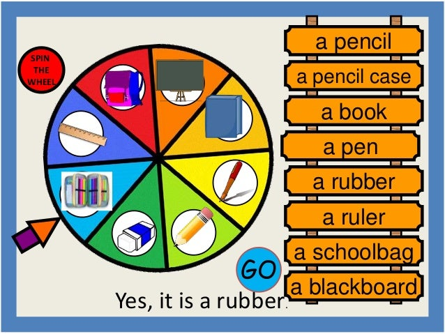 GO  Yes, it is a rubber.  SPIN  THE  WHEEL  a pencil  a pencil case  a book  a pen  a rubber  a ruler  a schoolbag  a blac...