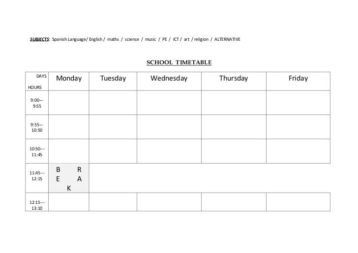 School timetable template for kids – Timetable Template School