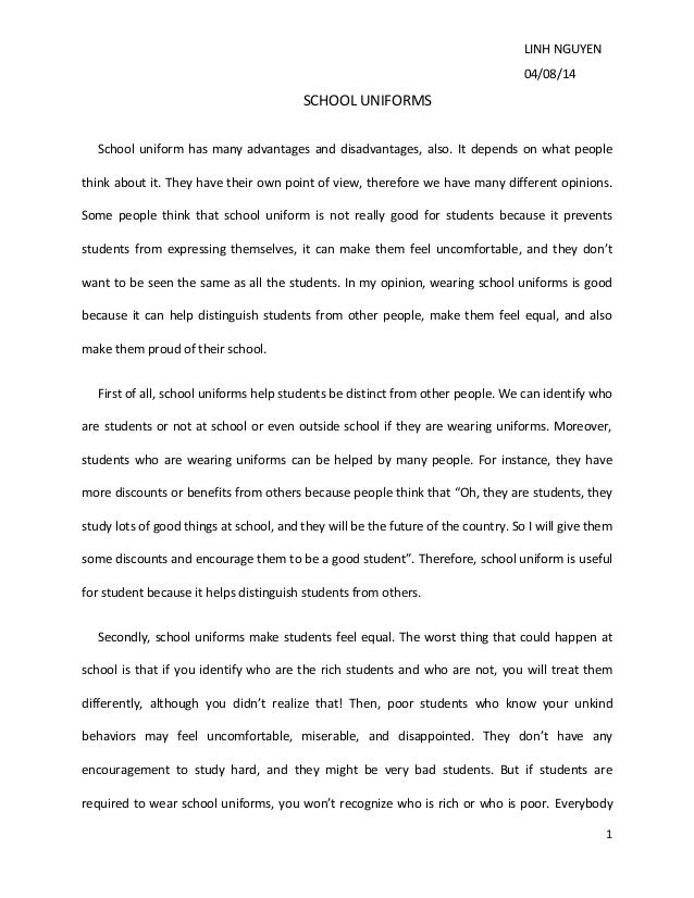 How To Write An Essay In High School School Uniforms Essay Linh Nguyen     School Uniforms School Uniform  Has Many Advantages Modest Proposal Essay also Persuasive Essay Ideas For High School Essay On School Critical Essay On Physician Assisted Suicide Jpg  Essays For Kids In English