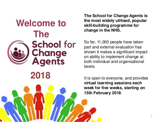 Welcome to The 1 The School for Change Agents is the most widely utilised, popular skill-building programme for change in ...