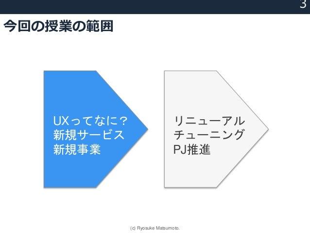 今回の授業の範囲 UXってなに? 新規サービス 新規事業 リニューアル チューニング PJ推進 3 (c) Ryosuke Matsumoto.