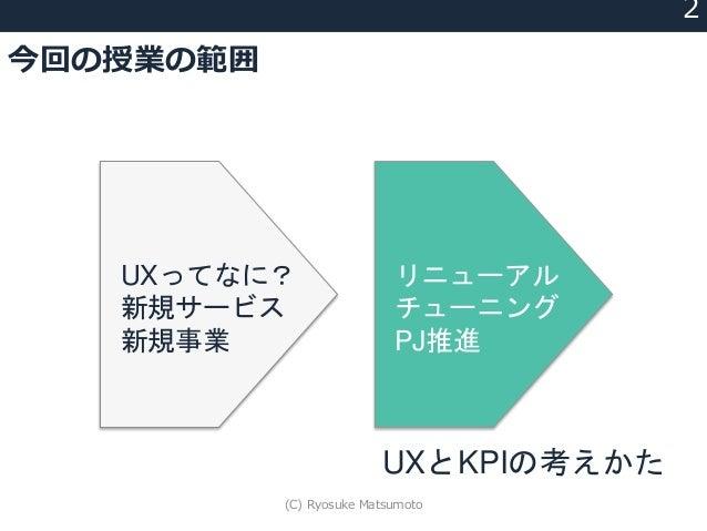 今回の授業の範囲 2 UXってなに? 新規サービス 新規事業 リニューアル チューニング PJ推進 UXとKPIの考えかた (C) Ryosuke Matsumoto