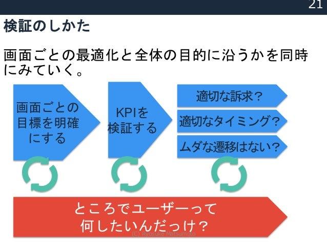 検証のしかた 画面ごとの最適化と全体の目的に沿うかを同時 にみていく。 画面ごとの 目標を明確 にする ところでユーザーって 何したいんだっけ? 適切な訴求? 適切なタイミング? 21 ムダな遷移はない? KPIを 検証する (C) Ryosu...