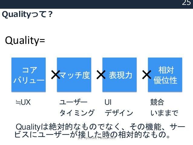Qualityって? 25 Quality= コア バリュー マッチ度 表現力 相対 優位性× × × ≒UX ユーザー タイミング UI デザイン 競合 いままで Qualityは絶対的なものでなく、その機能、サー ビスにユーザーが接した時の...